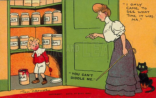 Young boy caught by his mother stealing jam from the store cupboard. Postcard, early 20th century.