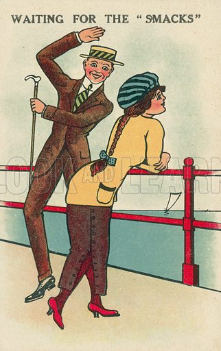Man waiting to smack a woman's bottom while she watches the yacht racing. Postcard, early 20th century.
