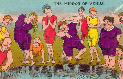 Mocking the beauty of the painting The Mirror of Venus, by Sir Edward Coley Burne-Jones. Postcard, early 20th century.