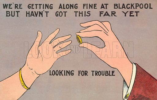 Man putting an engagement ring on a woman's finger. Postcard, early 20th century.