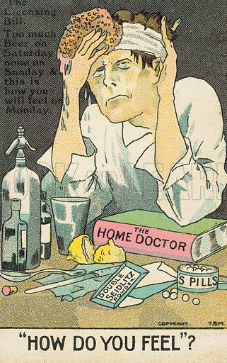 Man nursing a hangover. Postcard, early 20th century.