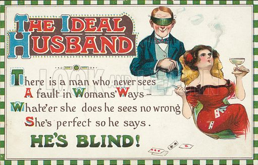 The ideal husband. Postcard, early 20th century.