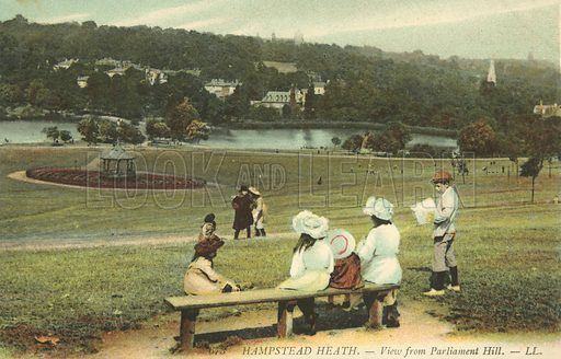 View across Hampstead Heath from Parliament Hill, London. Postcard, early 20th century.