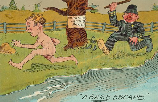 Policeman chasing off a naked man for swimming in a pond. Postcard, early 20th century.