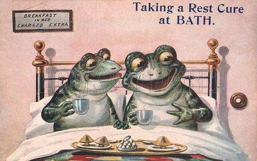 Two frogs having breakfast in bed in Bath. Postcard, early 20th century.