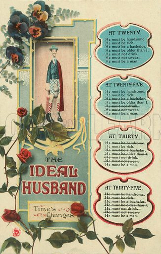 The ideal husband at different ages. Postcard, early 20th century.