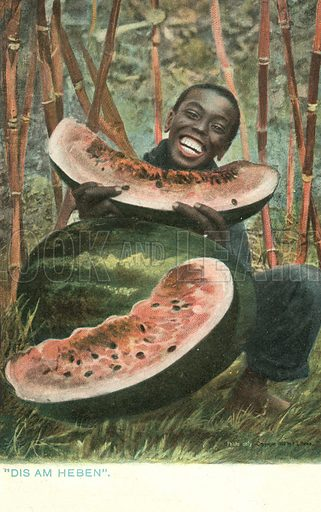 Black man eating a large watermelon. Postcard, early 20th century.
