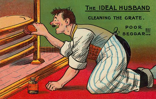 The ideal husband cleaning the fireplace. Postcard, early 20th century.