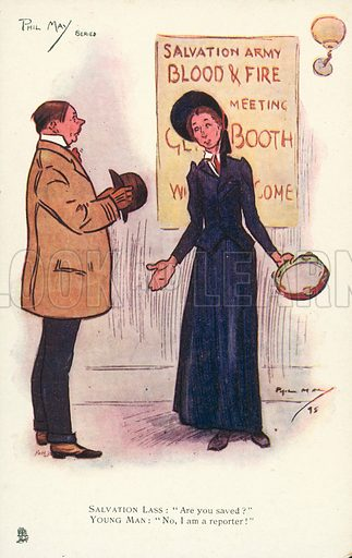 Woman from the Salvation Army and a reporter. Postcard, early 20th century.