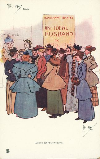 Women gathering outside a theatre to see a production of An Ideal Husband. Postcard, early 20th century.