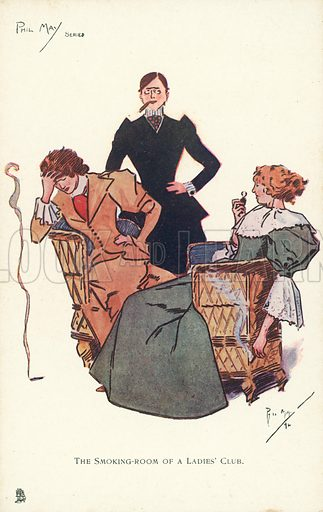 Smoking room at a Ladies' Club. Postcard, early 20th century.