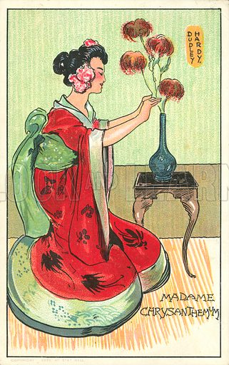 Madame Chrysanthemum, from the novel by Pierre Loti. Postcard, early 20th century.
