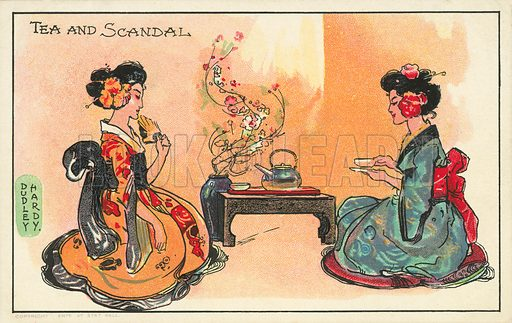 Tea and scandal: two Japanese women drinking tea. Postcard, early 20th century.