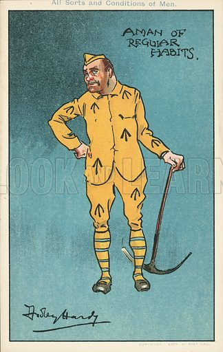 A man of regular habits: prisoner holding a pickaxe. Postcard, early 20th century.