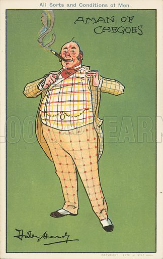 A man of cheques: a wealthy man in a checked suit. Postcard, early 20th century.