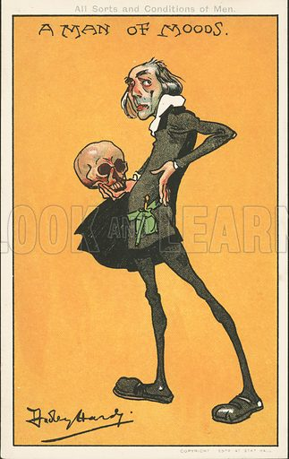 A Man of Moods: Shakespeare's character, Hamlet, with the skull of Yorick. Postcard, early 20th century.