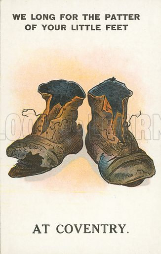 Pair of worn out boots. Postcard, early 20th century.
