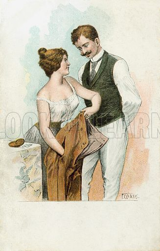 Woman using her feminine wiles to take money from a man's pocket. Postcard, early 20th century.