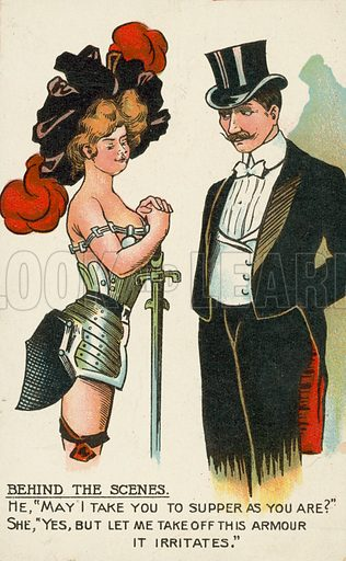 Man inviting an actress to have supper with him. Postcard, early 20th century.