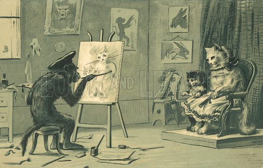 Monkey painting a portrait of a cat and a kitten