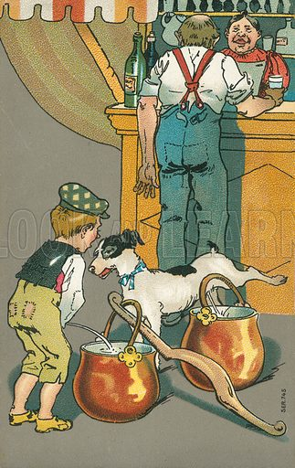 Naughty boy and his dog urinating into milk pails. Postcard, early 20th century.