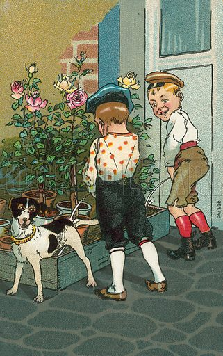 Naughty boys urinating into a flower bed. Postcard, early 20th century.