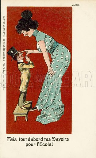Woman telling a man to do his homework before school. Postcard, early 20th century.