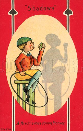 A mischievous young boy whose shadow looks like a monkey. Postcard, early 20th century.