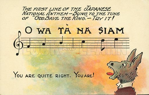 Donkey singing a faux version of the Japanese national anthem. Postcard, early 20th century.