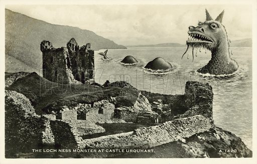 The Loch Ness monster at Castle Urquhart. Postcard, early 20th century.