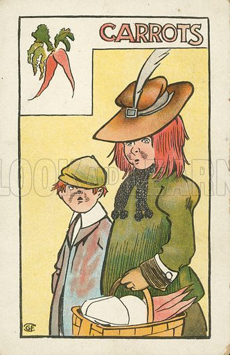 Red haired mother and boy with carrots. Postcard, early 20th century.