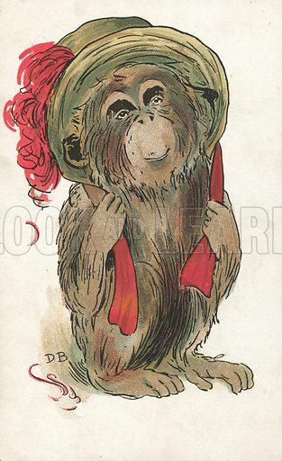 Monkey wearing a bonnet. Postcard, early 20th century.
