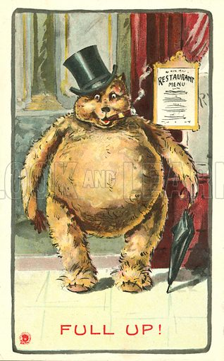 Fat bear leaving a restaurant full up after a meal. Postcard, early 20th century.