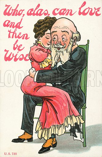 Young woman and an older man in an embrace. Postcard, early 20th century.