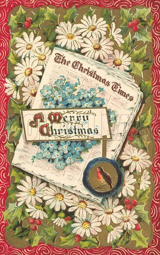 Christmas newspaper, Christmas greetings card, late 19th or early 20th Century.