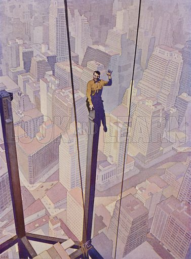 Construction worker on the steel frame of a skyscraper high above the streets of New York City, New York, USA. Illustration from The Wonder Book of Science (Ward, Lock & Co, Limited, London and Melbourne, c1935).