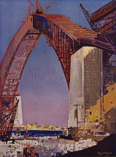 Completing the arch of Sydney Harbour Bridge, Australia, 1930. Illustration from The Wonder Book of Science (Ward, Lock & Co, Limited, London and Melbourne, c1935).