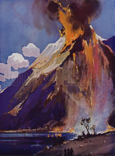 Volcano in eruption. Illustration from The Wonder Book of Science (Ward, Lock & Co, Limited, London and Melbourne, c1935).
