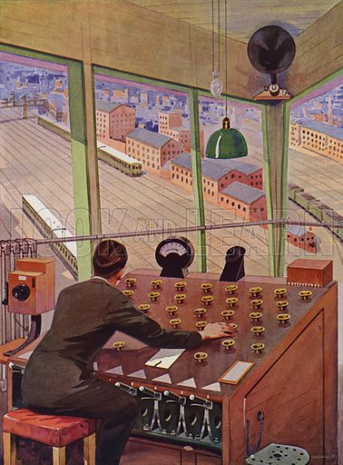 Operator controlling movements of trains in a railway marshalling yard. Illustration from The Wonder Book of Science (Ward, Lock & Co, Limited, London and Melbourne, c1935).