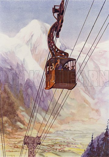 Cable car with Mont Blanc in the background, Chamonix, France. Illustration from The Wonder Book of Science (Ward, Lock & Co, Limited, London and Melbourne, c1935).