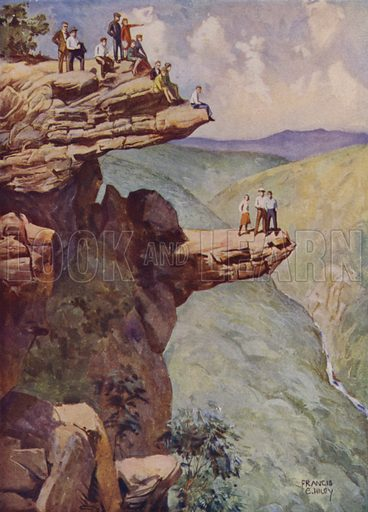Tourists on exposed granite outcrops in the Grampian Mountains, Victoria, Australia. Illustration from The Wonder Book of Science (Ward, Lock & Co, Limited, London and Melbourne, c1935).