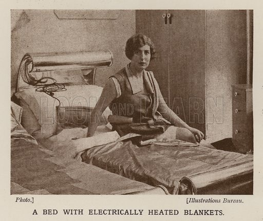 Bed with electrically heated blankets. Illustration from The Wonder Book of Science (Ward, Lock & Co, Limited, London and Melbourne, c1935).