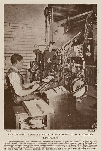 Operator using a linotype machine in the production of a newspaper. Illustration from The Wonder Book of Science (Ward, Lock & Co, Limited, London and Melbourne, c1935).
