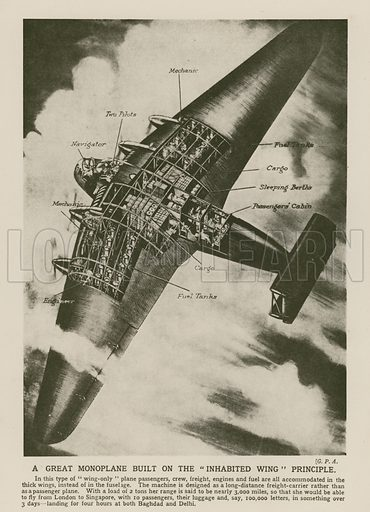 Monoplane built on the inhabited wing principle. Illustration from The Wonder Book of Science (Ward, Lock & Co, Limited, London and Melbourne, c1935).