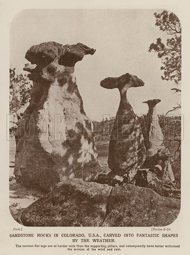 Sandstone rocks carved into fantastic shapes by wind and rain erosion, Colorado, USA. Illustration from The Wonder Book of Science (Ward, Lock & Co, Limited, London and Melbourne, c1935).