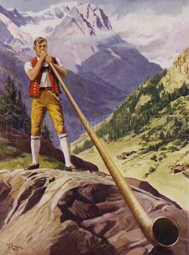 Man blowing an alphorn in the Swiss Alps. Illustration from The Wonder Book of Would You Believe It? (Ward, Lock & Co, Limited, London and Melbourne, c1940).
