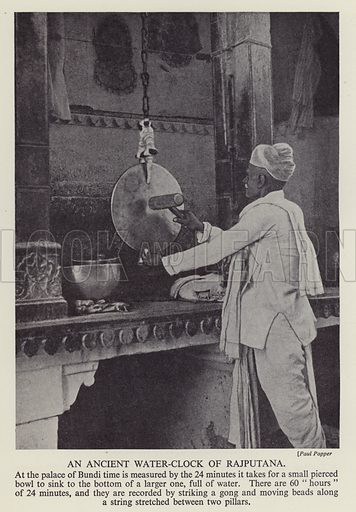 Ancient water clock of Rajputana in the Palace of Bundi, India. Illustration from The Wonder Book of Would You Believe It? (Ward, Lock & Co, Limited, London and Melbourne, c1940).