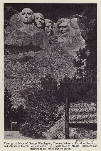 Mount Rushmore National Memorial, South Dakota, USA. Illustration from The Wonder Book of Would You Believe It? (Ward, Lock & Co, Limited, London and Melbourne, c1940).