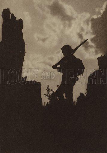 British soldier on picket duty at Ypres, Belgium, World War I, 1914-1918. Illustration from Der Weltkrieg im Bild (Verlag Der Weltkrieg Im Bild, Munich, c1928).