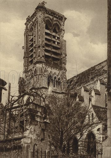 Tower of Soissons Cathedral, France, damaged by German artillery fire, World War I, 7 October 1916. Illustration from Der Weltkrieg im Bild (Verlag Der Weltkrieg Im Bild, Munich, c1928).
